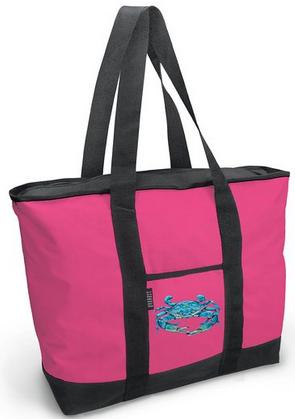 blue crab pink tote bag