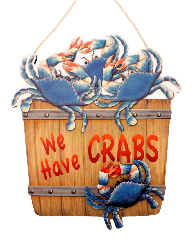 wooden bushel we have crabs sign