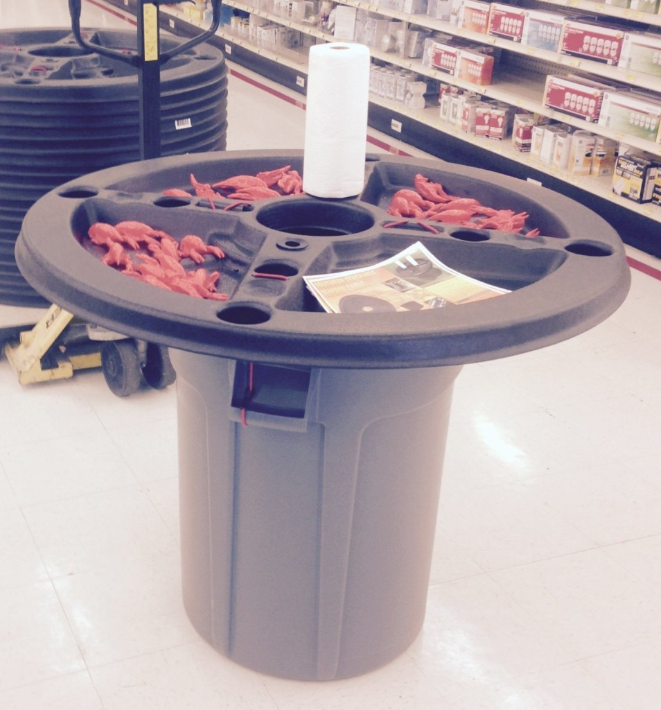 outdoor crawfish picnic table with trash can